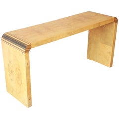 Milo Baughman Style Burled Olivewood Console Table by Henredon