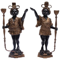 Pair of Early 20th Century Blackamoor Candleholders