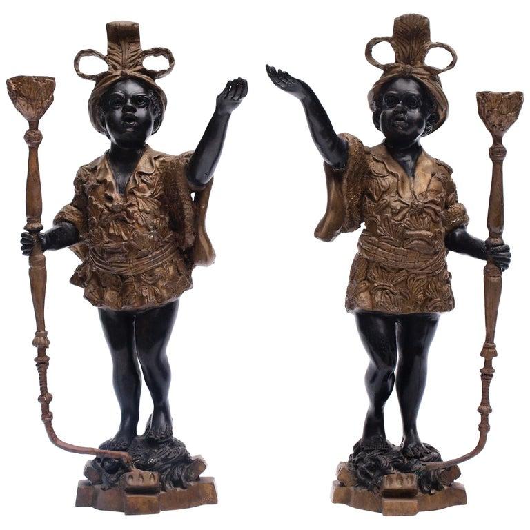 Pair of Early 20th Century Blackamoor Candleholders