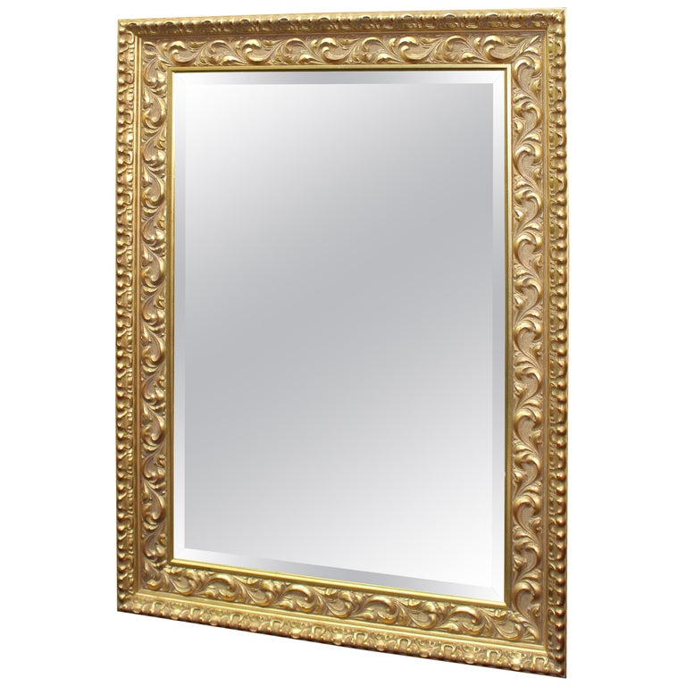 Rectangular Gilt Gold Leaf Bevelled Mirror