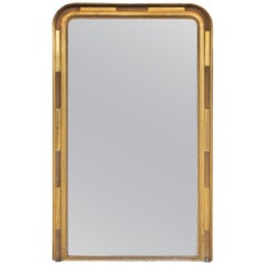Large Antique French Louis Philippe Mirror with Textured Gilt Beaded Frame