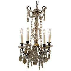 Louis XVI Style Four-Light Brass and Crystal Chandelier, France, circa 1870