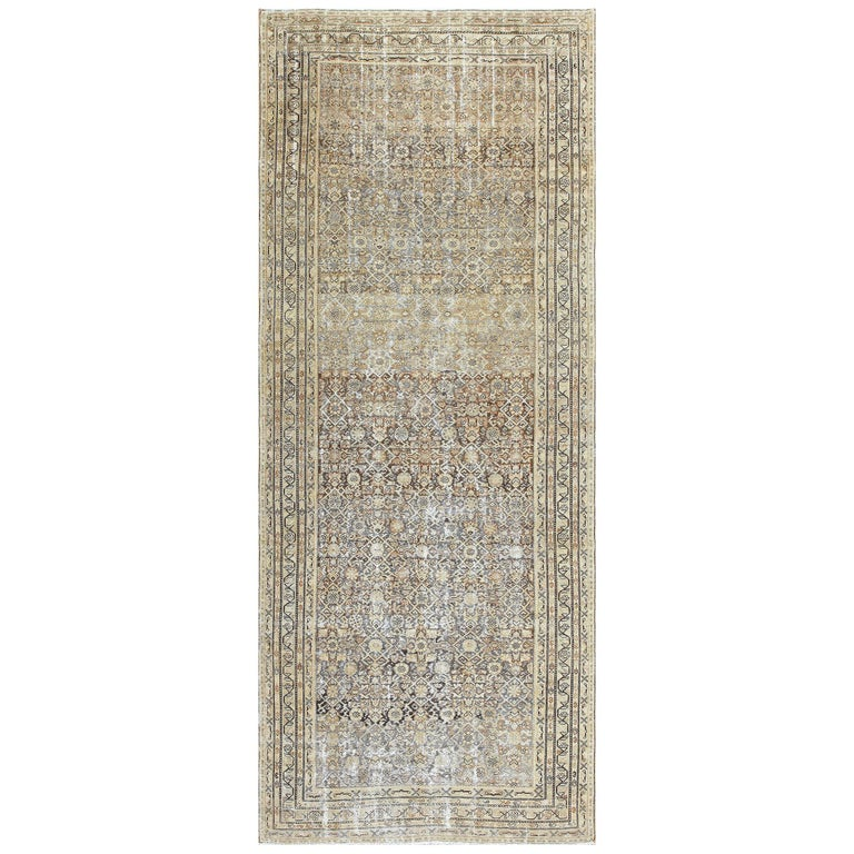 Antique Persian Shabby Chic Malayer Wide Hallway Gallery Rug For Sale