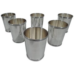 Set of Six Eisenhower-Era Sterling Silver Mint Julep Cups by Scearce