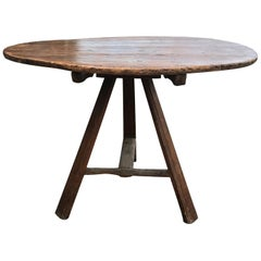 19th-20th Century Old Round Tilt-Top Work Table
