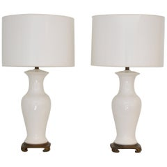Pair of Blanc de Chine Jar Form Table Lamps