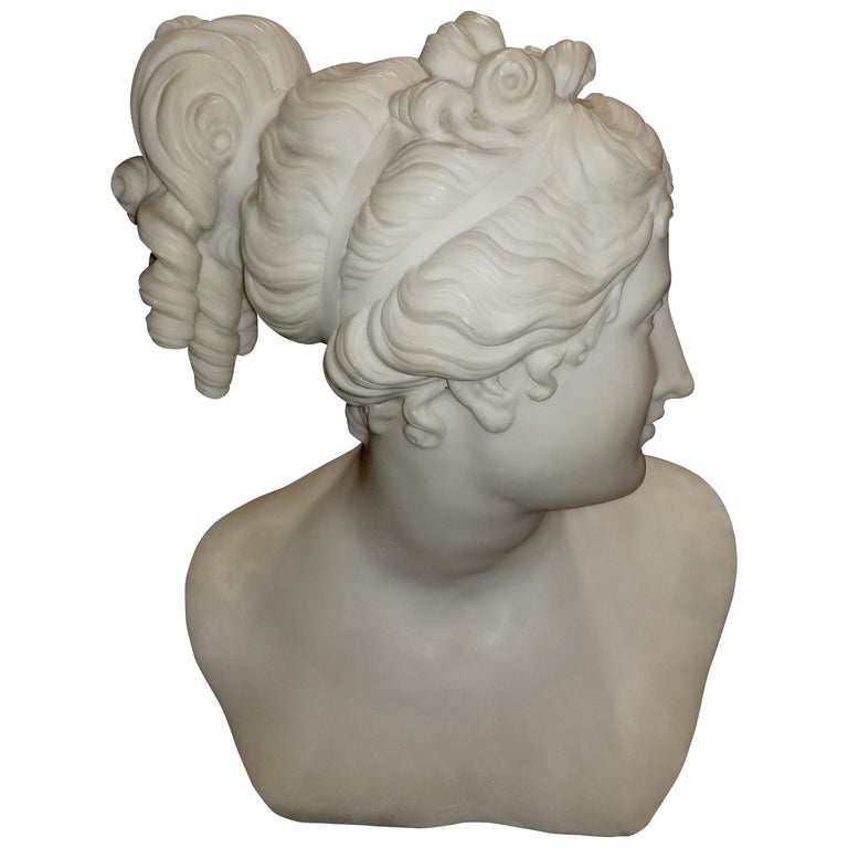 Marble Bust of Venus after Antonio Canova, Signed Pietro Bazzanti, Florence