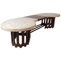 Midcentury Inlaid Stone and Walnut Top Coffee Table