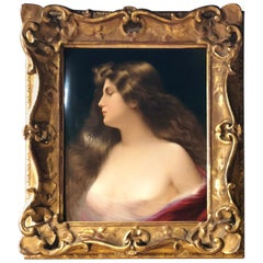 Gorgeous KPM Berlin Porcelain Plaque of a Beauty with Original Frame