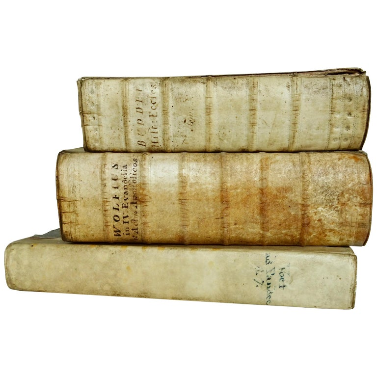 17th and 18th Century Vellum Books Collection of Three For Sale