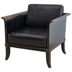 Distressed Black Lacquer Neoclassical Style Armchair