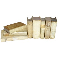 17th and 18th Century Collection of Vellum Books in a Set of Eight