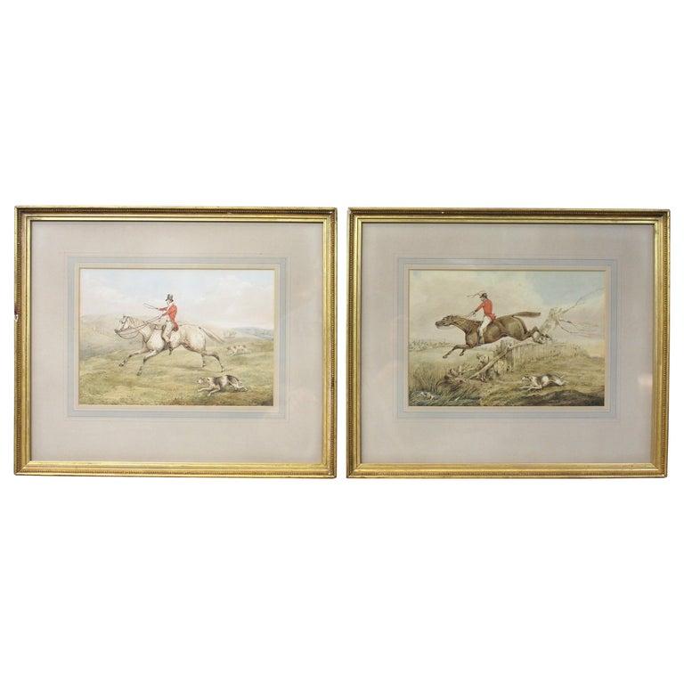Pair of Original Watercolor Paintings by Henry Thomas Alken