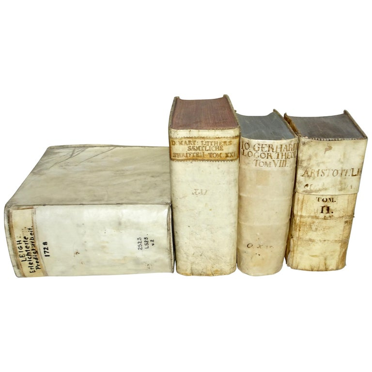 17th and 18th Century Collection of Four All Vellum Books  For Sale