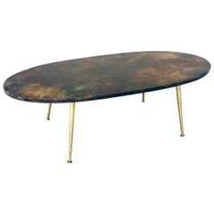 Fabulous 1950s Aldo Tura Chocolate Goatskin Cocktail Table