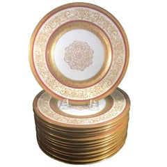 Set of 12 Gold Encrusted Service Dinner Plates