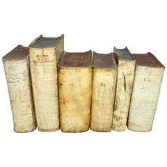 17th and 18th Century Collection of Vellum Books in a Set of Six