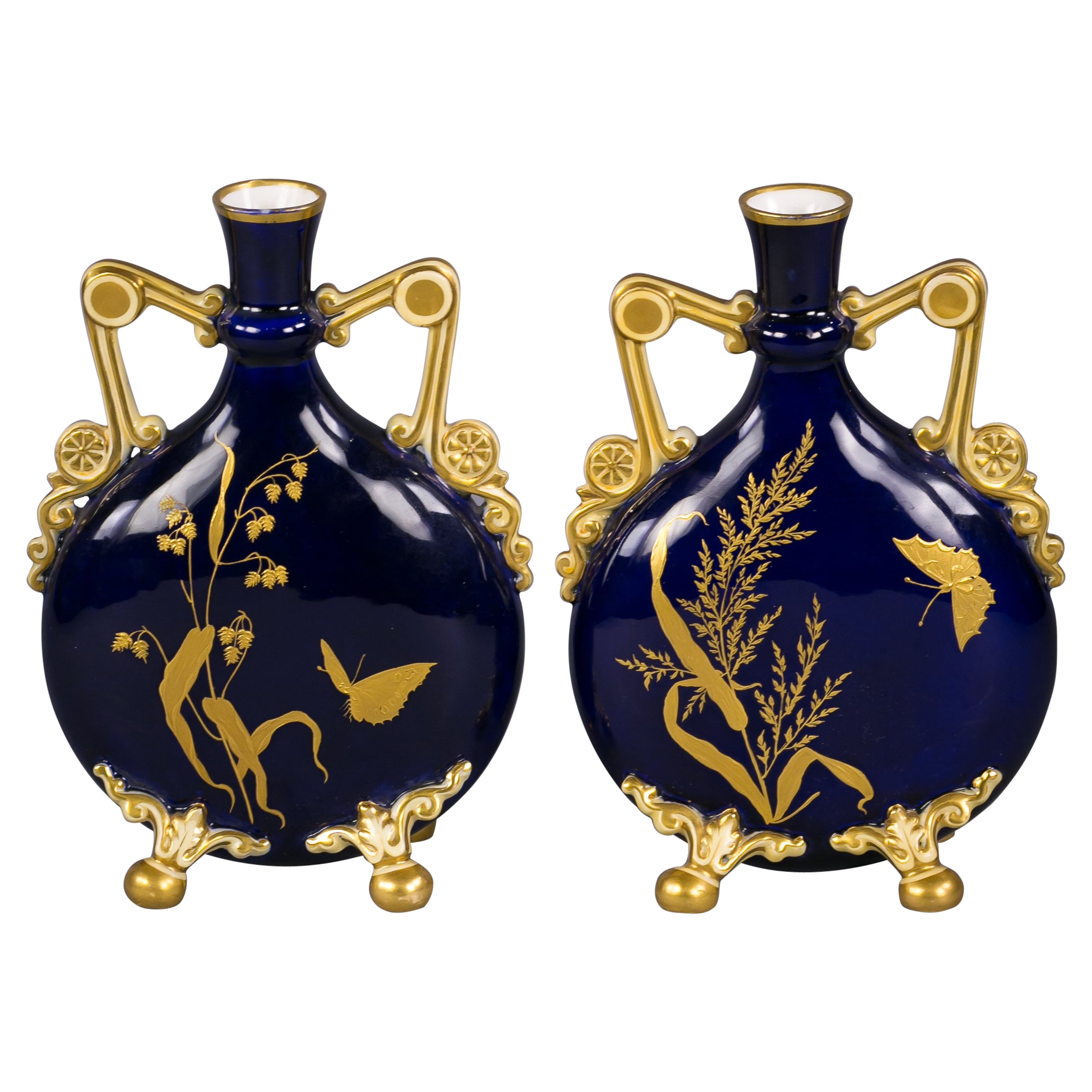 Pair of English Porcelain Two-Handled Moon Flask Vases, circa 1880