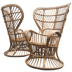 Fabulous Pair of 1950s Lio Carminati Italian Rattan Lounge Chairs