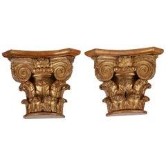 Pair of Antique Gilt Carved Wood Corinthian Half Capital Bracket Shelves