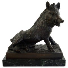 19th Century Black Bronze Boar Figurine Sculpted by Joseph Victor Chemin