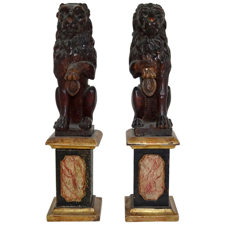 Pair of 19th Century Bronze Lion Statues on Marble Bases