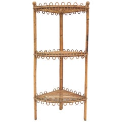 Chic 1950s French Sculpted Rattan Corner Shelf, Style of Jean Royere