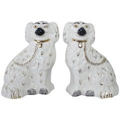 Pair of Antique English Staffordshire Ceramic Dogs