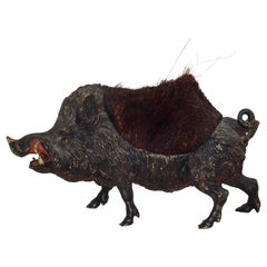 Antique Carved Black Iron Boar Figurine with Boar Hair, 19th Century