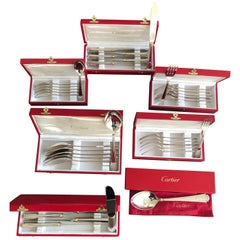 New Cartier Boxed Silverware Set Signed, Fork Knife Spoon in Silver Gold Trinity