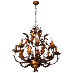 Large Vintage French Gilt Tole Chandelier