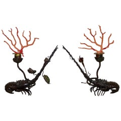 Pair of Antique Carved Black Iron Crustacean Sculptures with Coral, 19th Century