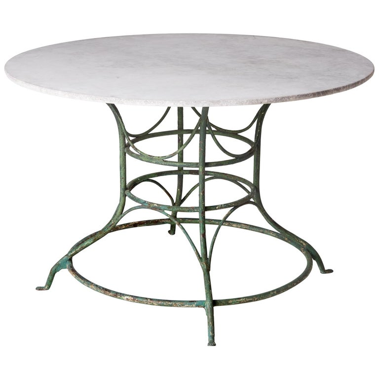 French Wrought Iron Circular Table with White Marble Top, circa 1900 For Sale