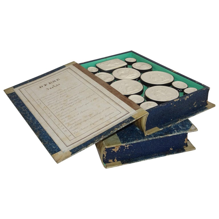 Early 19th Century Pair of Grand Tour Intagilos in a Box Designed as a Book For Sale