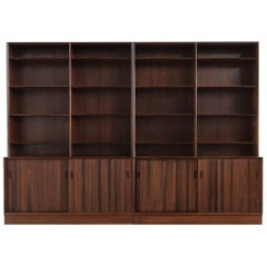 Large Pair of 1960s Sideboards Bookcases Danish Modern Shelves, Ole Wanscher