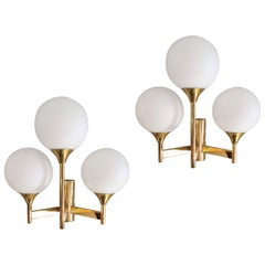 Pair of Mid-Century Modern Jakobsson Style, White Globe and Brass Sconces