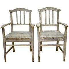 Pair of Pine Slatback Plank Seat Armchairs