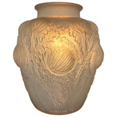 1926 Rene Lalique Domremy Vase in Double Cased Opalescent and Stained Glass