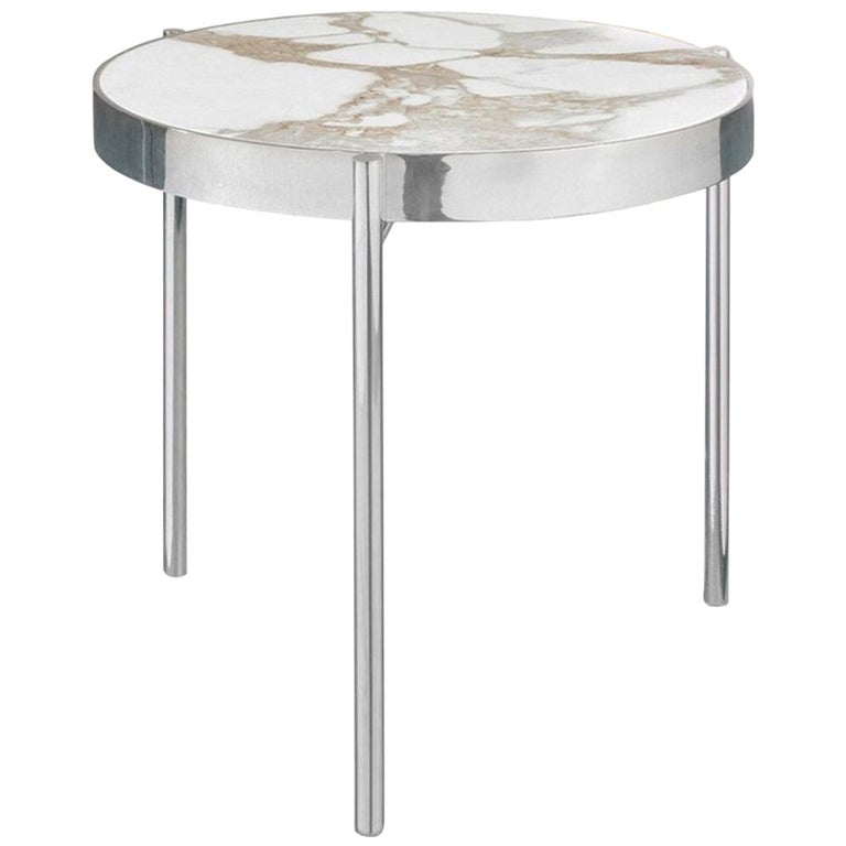 Kandinsky, Contemporary Round Side Table in Marble with Stainless Steel Base