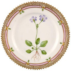 Royal Copenhagen Flora Danica Plate, Early Mark, Hand-Painted in Highest Quality