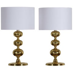Chic Pair of Brass Table Lamps, Sweden, 1960s