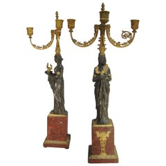 Pierre-Philippe Thomire Attributed Pair of Gilded Bronze Candelabra, France