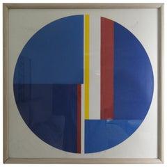 "Ilya Blotowsky ""Untitled"" Blue Tondo, Signed and Numbered Screenprint"