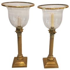 English Hurricane Lanterns with Corinthian Column Brass Stands, Pair