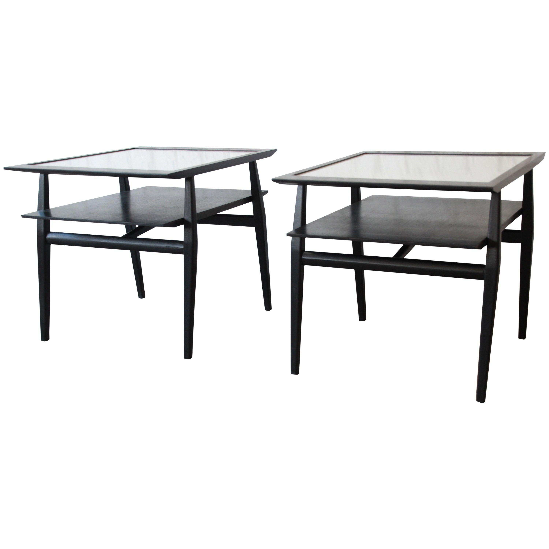 Bertha Schaefer for Singer & Sons Ebonized Mid-Century Modern End Tables, Pair