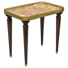 Small French Louis XVI Directoire Style Rouge Marble Top Accent Drink Side Table