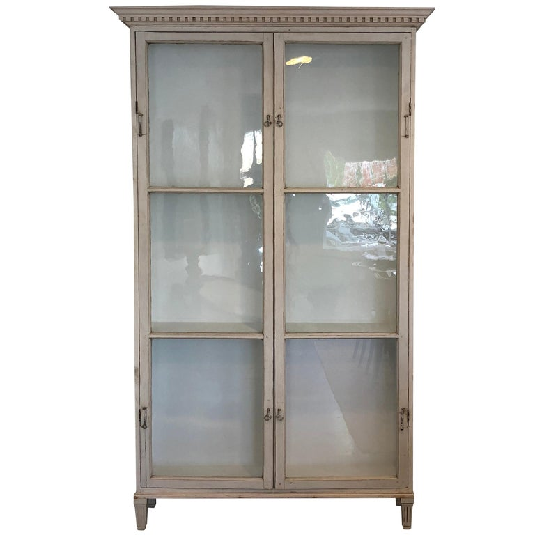 Gustavian Style Cabinet with Antique Glass Doors For Sale - Gustavian Style Cabinet With Antique Glass Doors For Sale At 1stdibs