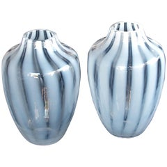 Large-Scaled and Striking Pair of Hessen Glaswerke White Striated Ovoid Vases
