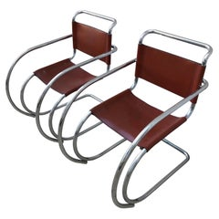 Set of Two Lounge MR20 Mies van der Rohe Chairs, 1960s