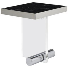 Kandinsky, Contemporary Square Side Table, Marble with Acrylic Base, Steel Base